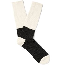 Anonymous Ism Two Tone Textured Wool Blend Socks Ivory