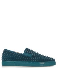 Christian Louboutin Roller Boat Spike Embellished Slip On Trainers Blue Multi
