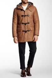 Gant Genuine Lamb Leather Lined Sheepskin Duffel Coat Brown