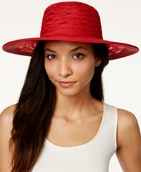 Nine West Sheer Open Floppy Hat Red