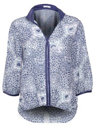 Lavand Printed Blouse French Sleeve Blue