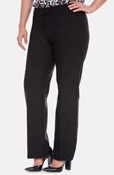 Eloquii 'Paley Luxe Double Weave' Straight Leg Suit Trousers Plus Size Black