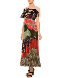 Valentino Multi Print Pleated Patchwork Dress Garden Party