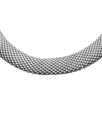 Macy's Sterling Silver Necklace Mesh Oval