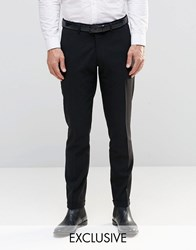 Only And Sons Skinny Smart Trousers With Stretch Turn Up Black