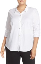 Eileen Fisher Plus Size Women's Organic Cotton Jersey Classic Collar Shirt