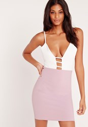Missguided Plunge Contrast Bodycon Dress Purple White