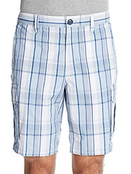 Saks Fifth Avenue Blue Yarn Dyed Plaid Cargo Shorts Aqua