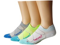 Feetures Elite Ultra Light No Show Tab 3 Pair Pack White Deep Pink Reflector Aqua Gray Olympic Blue No Show Socks Shoes Multi