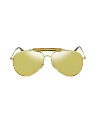 Gucci Gg 2235 N S 705Ij Gold Plated Aviator With Bamboo Women's Sunglasses