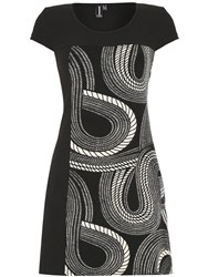 Izabel London Monochrome Rope Swirl Pattern Tunic Black