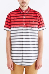 Staple Finish Stripe Woven Button Down Shirt Red
