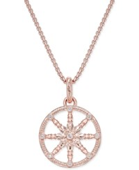Thomas Sabo Karma Beads Cubic Zirconia Pave Wheel Of Karma Pendant Necklace In 18K Rose Gold Plated Sterling Silver