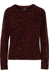 Line Murray Leopard Print Wool Blend Sweater Red