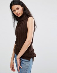 Brave Soul Roll Neck Knitted Vest Chocolate Brown