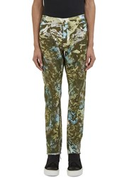 James Long Camo Print Slim Leg Jeans Black