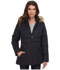 Larry Levine Short Hooded Down With Faux Leather Trim Midnight Women's Coat Navy
