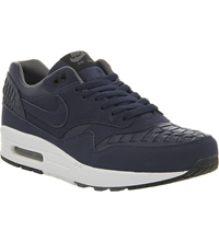 Nike Air Max 1 Woven Leather Trainers Midnight Navy Woven