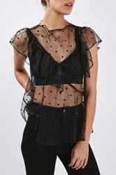 Boutique Polka Ruffle Top By Black