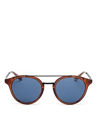 Carrera Round Double Bar Sunglasses 49Mm Light Brown Blue