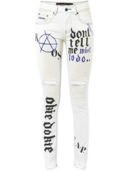 Filles A Papa Printed Ripped Skinny Jeans White
