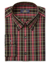 Club Room Estate Men's Classic Fit Wrinkle Resistant Black Oversize Tartan Dress Shirt Only At Macy's