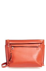 Loewe Large Double Pouch Calfskin Crossbody Bag Coral