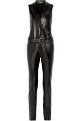 Thierry Mugler Belted Leather Jumpsuit Black