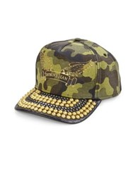 Robin's Jeans Metal Studded Brim Camouflage Cap Green Black