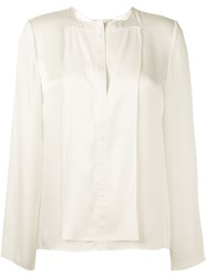 Maison Rabih Kayrouz Split Neck Blouse Nude And Neutrals