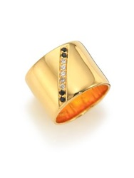 Elizabeth And James Paxton White Topaz And Black Spinel Ring Gold