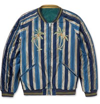 Kapital Slim Fit Reversible Striped Cotton Blend And Velvet Souvenir Jacket Blue