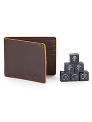 Robert Graham Leather Slimfold Wallet And Whiskey Stone Set Assorted