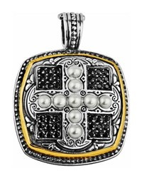 Konstantino Spinel And Pearl Square Cross Pendant Enhancer W 18K