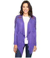Rock And Roll Cowgirl Long Sleeve Cardigan B4 9118 Purple Women's Sweater