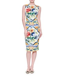 Dolce And Gabbana Sleeveless Maiolica Tile Print Sheath Dress Maiolica Fdo.Bian