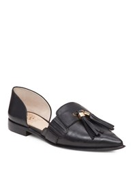 Vince Camuto Hollina Dorsay Leather Flats Black