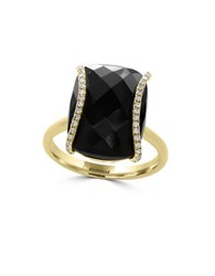 Effy Eclipse Diamonds Onyx And 14K Yellow Gold Ring Black