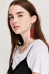 Urban Outfitters Yara Chain Tassel Statement Earring Red