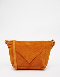 Asos Festival Suede Cross Body Bag With V Front Tan