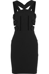Roland Mouret Altamira Velvet Trimmed Cutout Stretch Crepe Mini Dress Black