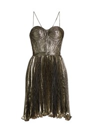 Maria Lucia Hohan Norina Silk Blend Lame Pleated Dress Silver