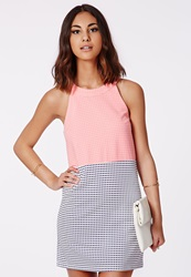 Missguided Contrast Gingham Shift Dress Pink Navy