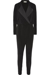 By Malene Birger Bonnia Silk Trimmed Stretch Crepe Jumpsuit Black