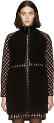 Moncler Gamme Rouge Black And Red Tartan Shearling Coat