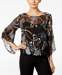 Alfani Petite Printed Angel Sleeve Blouse Only At Macy's Fancy Floral Chambray