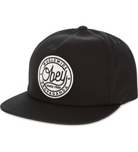 Obey Circle Logo Cotton Snapback Black
