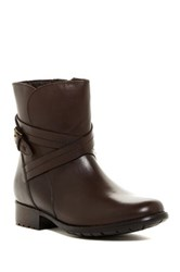 Clarks Plaza Square Waterproof Leather Ankle Boot Brown