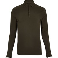 River Island Mens Khaki Muscle Fit Polo Top