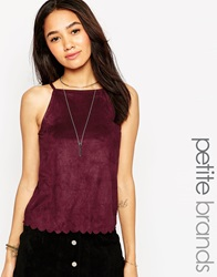 New Look Petite Suedette High Neck Cami With Scallop Edge Burgundy